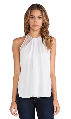 Halston Heritage Lace Detail Gathered Neck Top in Vapor