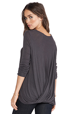 Halston Heritage Twist Back Drape Top in Charcoal