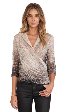 Halston Heritage Wrap Front Blouse in Eggshell Mirage Print