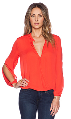 Halston Heritage Slit Sleeve Top in Lipstick
