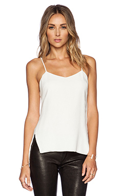 Halston Heritage Side Slit Tank in Linen White