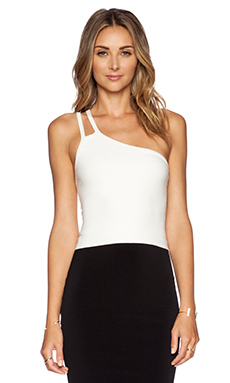 Halston Heritage Asymmetric Strap Crop Top in Linen White
