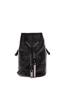 Halston Heritage Mini Bucket Bag in Black Croco