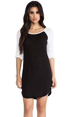 MONROW Colorblock Linen Rock Dress in Black & White