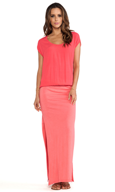 MONROW Crepe Basics Knit Maxi in Coral
