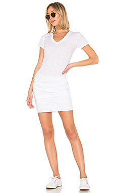 MONROW Shirred Tee Dress in White