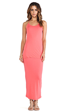 MONROW Basics Racer Dress in Coral