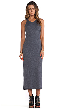 MONROW Ash Heather Jersey Bandeau Maxi Dress in Neptune