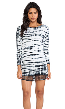 MONROW Tiger Tie Dye Contrast Mesh Dress in White