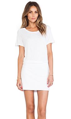 MONROW Slub Cotton Modal T-Shirt Dress in White