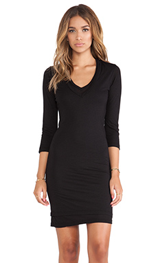 MONROW Heather Grey Tissue Double V Neck Dress in Black