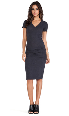 MONROW Shirred Tee Dress in Neptune