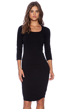 HEAVY STRETCH COTTON 3/4 SLEEVE DRESS