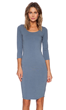 MONROW Heavy Stretch Cotton 3/4 Sleeve Dress in Blue Steel