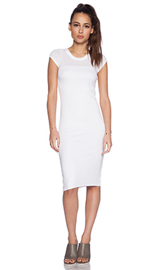 MONROW Lycra Rib Cap Sleeve Dress in White