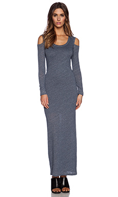 MONROW Burn Out Cut Out Dress in Blue Clay