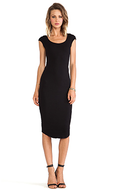 MONROW 1X1 Cap Sleeve T Dress in Black