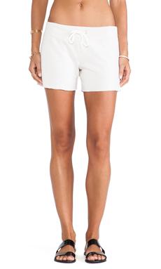 Monrow White Fleece Vintage Shorts in Bone