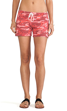 MONROW Camo Print Vintage Shorts in Coral