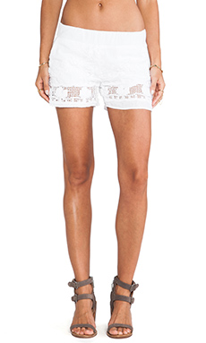 MONROW Squares Embroidery Shorts in White