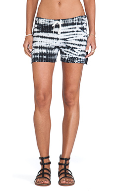MONROW Tiger Tie Dye Vintage Shorts in White