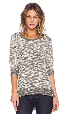 MONROW Poodle French Terry Raglan Hi-Low Sweater in Natural