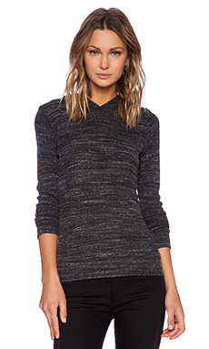 MONROW Sweater Knit Kangaroo Pullover in Granite