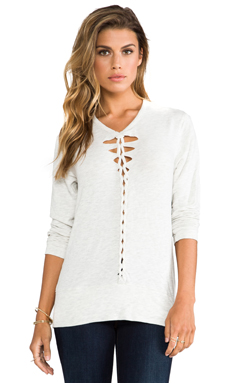 MONROW Braided Sweatshirt in Ash