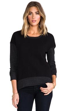 MONROW Diamond Quilted Oversized Sweatshirt in Black