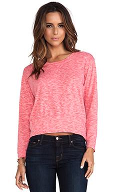 MONROW Cosmic Fleece Sweatshirt in Coral