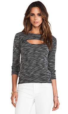 MONROW Luxe French Terry Open Sweatshirt in Black