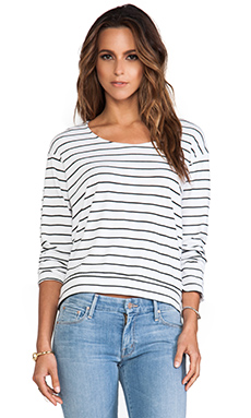 MONROW Pinstripe Sweatshirt in White