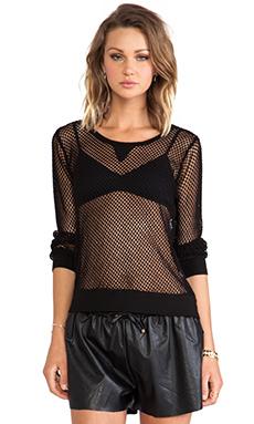 MONROW Fishnet Mesh Sweatshirt in Black
