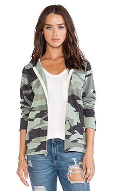 MONROW Zip Up Hoody in Camo