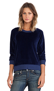 MONROW Velour Vintage Sweatshirt in Navy