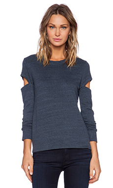 MONROW Heather Fleece Open Sleeve Sweatshirt in Blue Steel