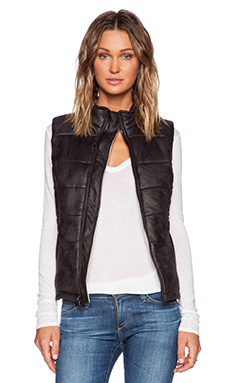 MONROW Soft Leather Puffer Vest in Black