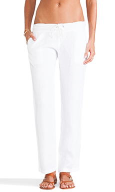 MONROW Linen Jersey Chino in White