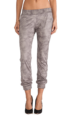 MONROW Basic Leather Sweats in Taupe