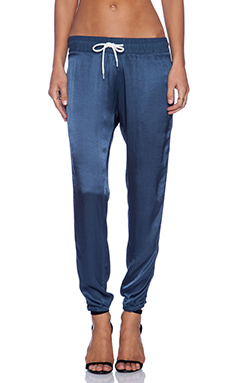 MONROW Rayon Satin Athletic Sweatpant in Blue Steel