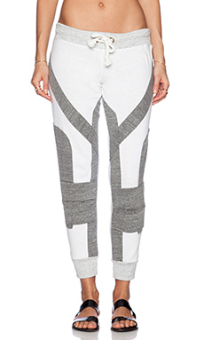 MONROW Patchwork Cuff Sweatpant in Natural