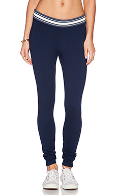 MONROW Stripe Rib Yoga Legging in Inca Blue