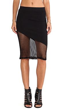 MONROW Fishnet Mesh Skirt in Black