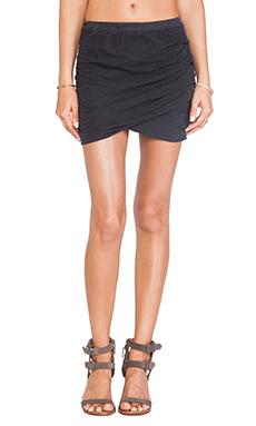MONROW Shirred Skirt in Black