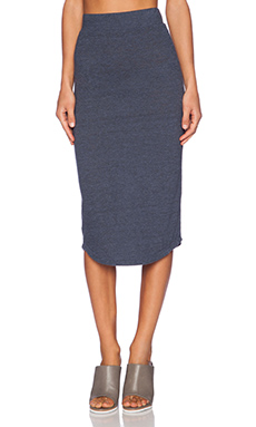 MONROW Granite Jersey Pencil Skirt in Vintage Blue
