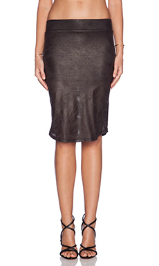 MONROW Perforated Leather Pencil Skirt in Black