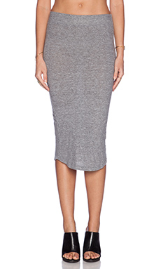 MONROW Granite Jersey Pencil Skirt in Granite