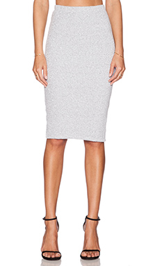 MONROW Rib High Waist Pencil Skirt in White