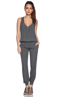 MONROW Crepe Jumpsuit in Green Grey