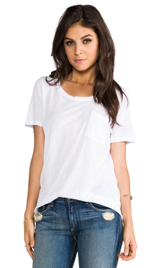 MONROW Vintage Jersey Pocket Tee in White